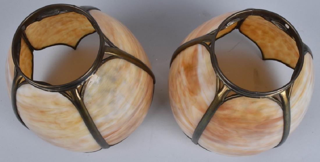 2-VINTAGE SLAG GLASS LAMP SHADES, MATCHED PAIR - 3