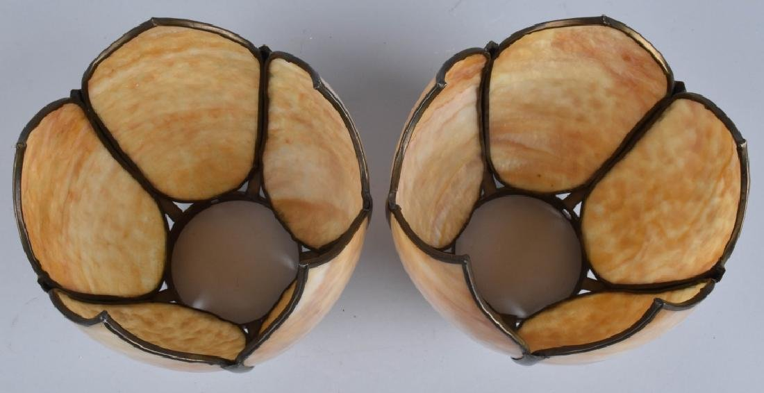 2-VINTAGE SLAG GLASS LAMP SHADES, MATCHED PAIR - 4