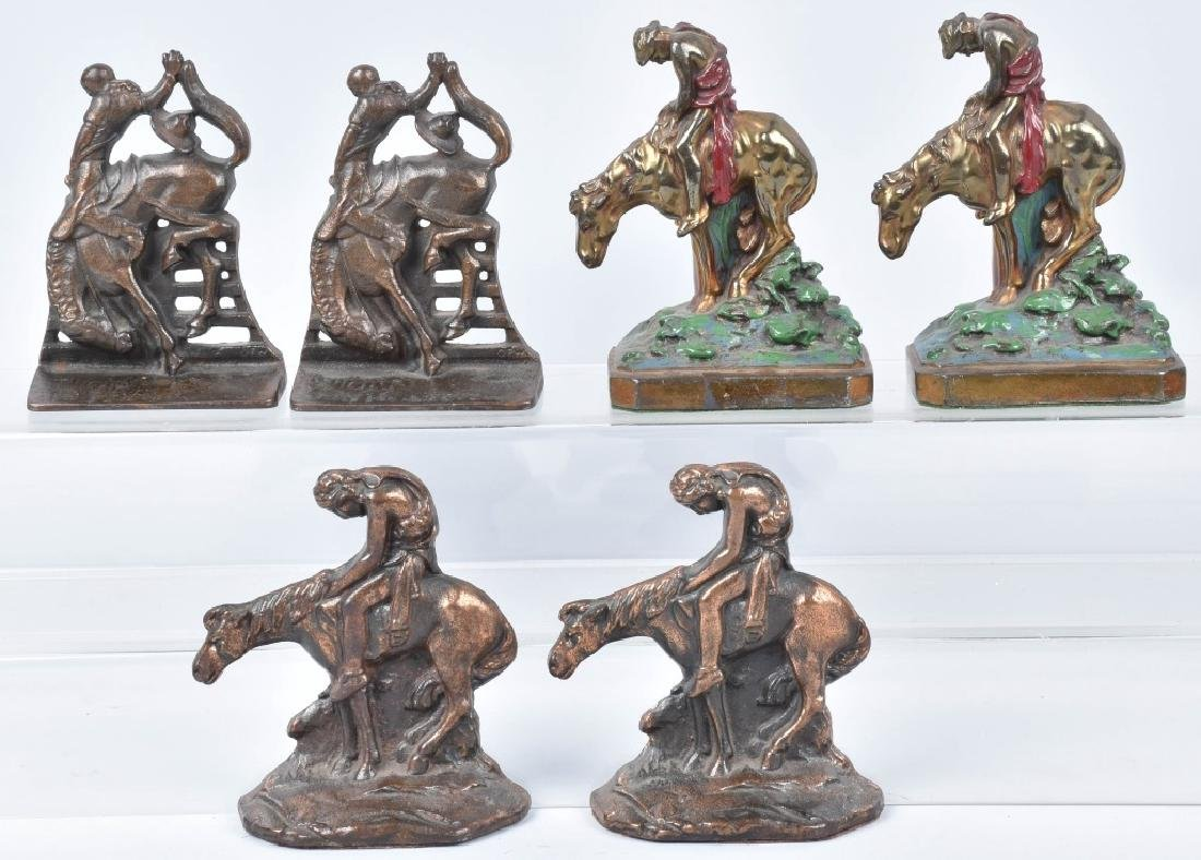 3-CAST IRON & METAL BOOKENDS, END of TRAIL & MORE