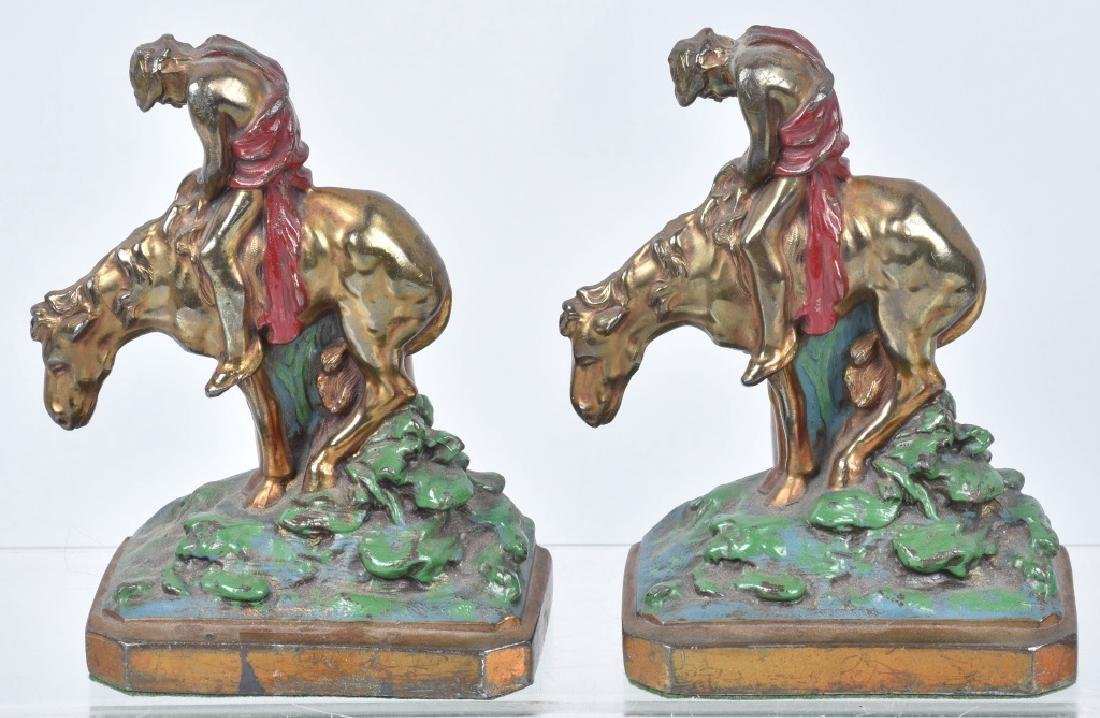 3-CAST IRON & METAL BOOKENDS, END of TRAIL & MORE - 2