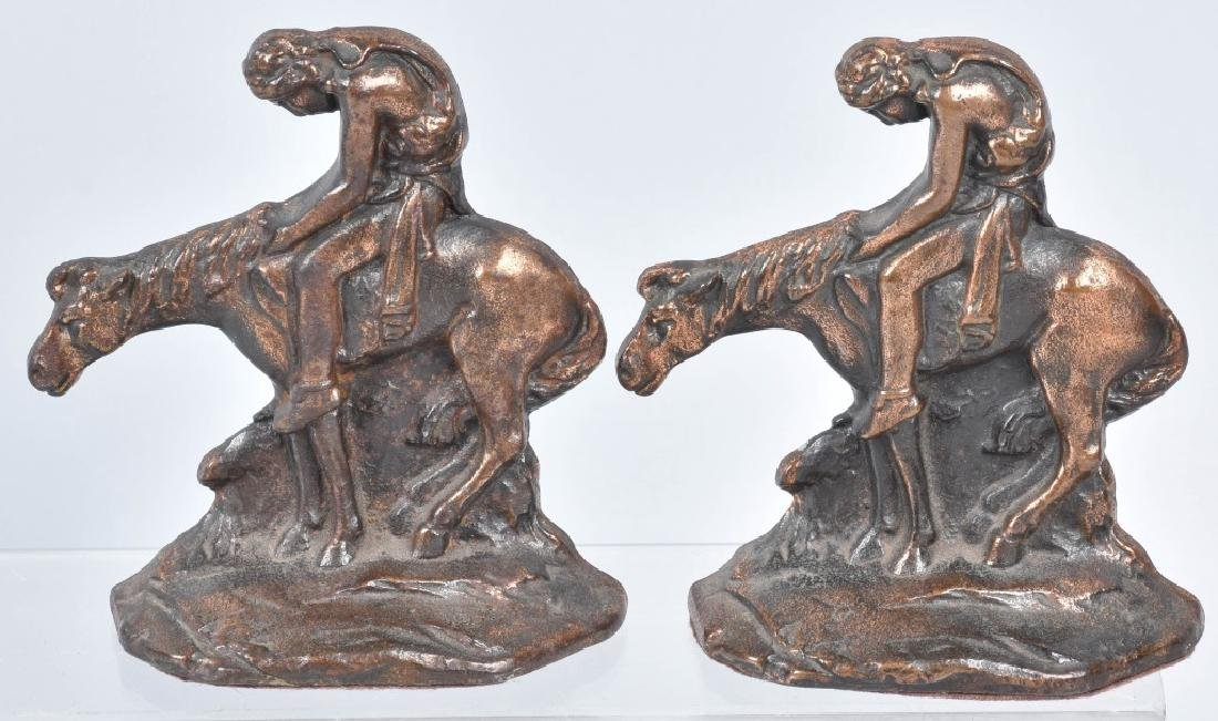 3-CAST IRON & METAL BOOKENDS, END of TRAIL & MORE - 3