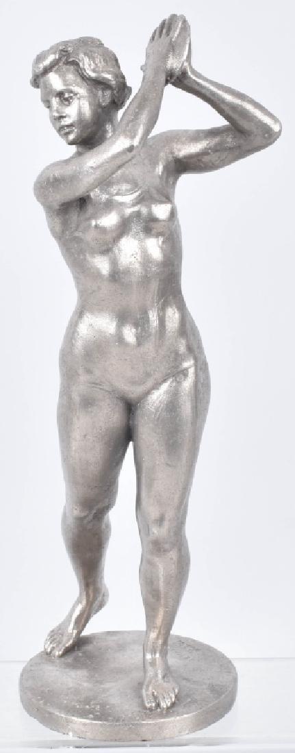 2-NUDE WOMAN CAST METAL STATUETTES - 2