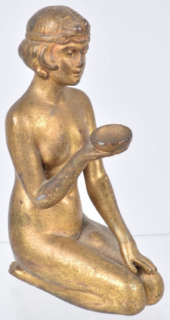 2-NUDE WOMAN CAST METAL STATUETTES - 6
