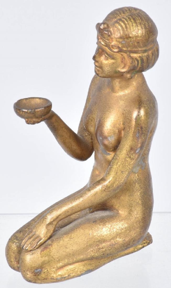 2-NUDE WOMAN CAST METAL STATUETTES - 8