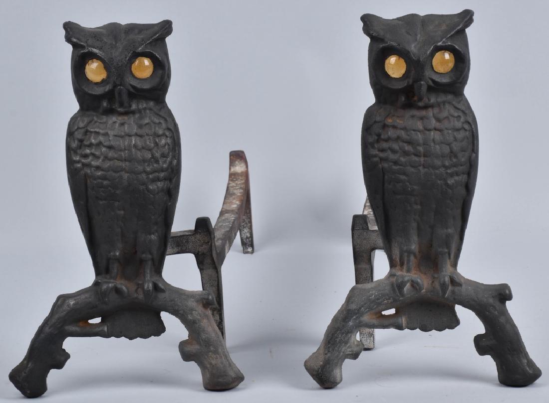 CAST IRON FIGURAL OWL ANDIRONS