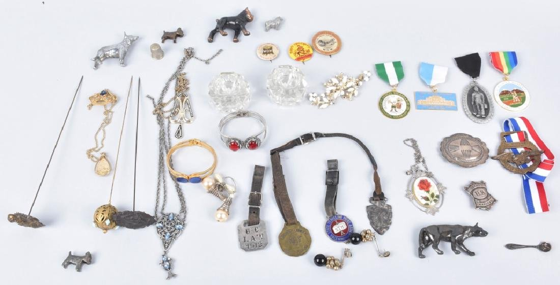 VINTAGE WATCH FOBS, HAT PINS, JEWELRY and MORE
