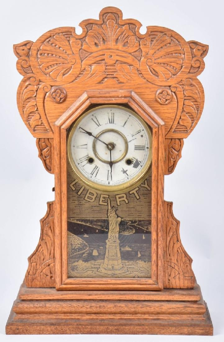 NEW HAVEN OAK STATUE of LIBERTY KITCHEN CLOCK