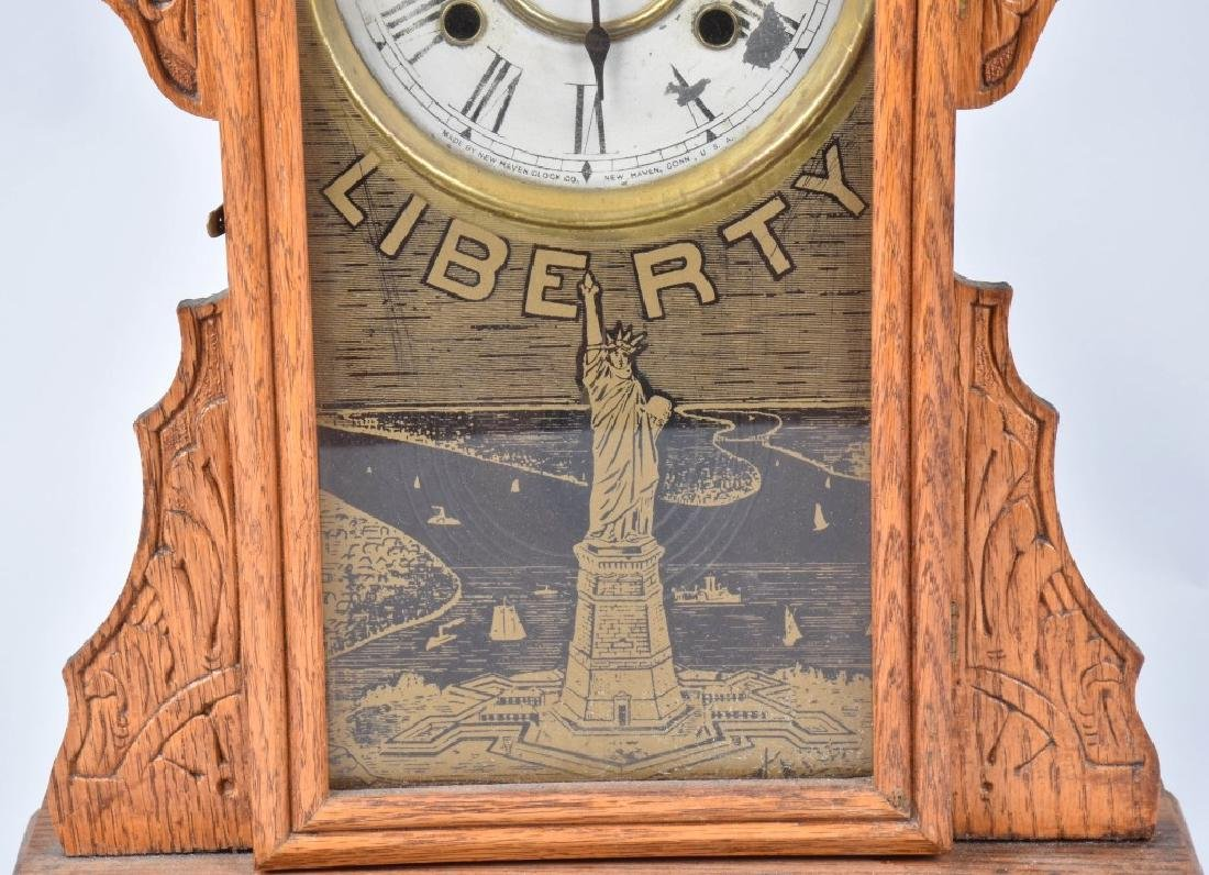 NEW HAVEN OAK STATUE of LIBERTY KITCHEN CLOCK - 3