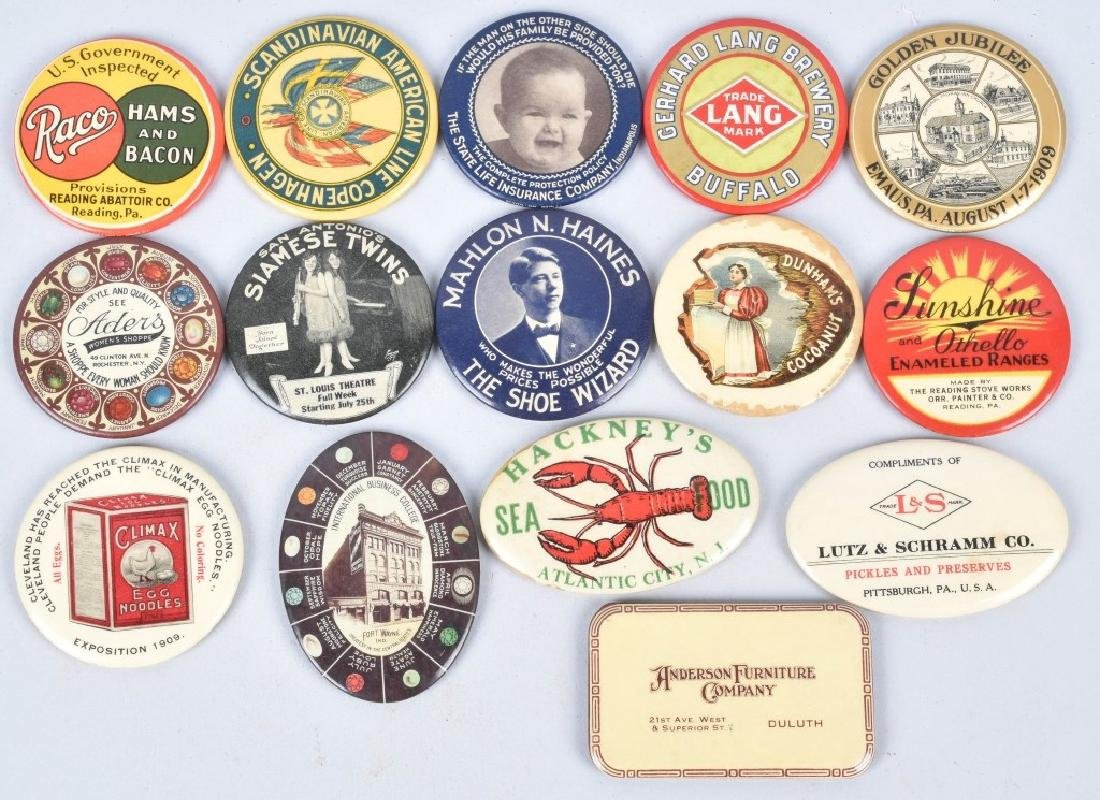15- CELLULOID ADVERTISING POCKET MIRRORS