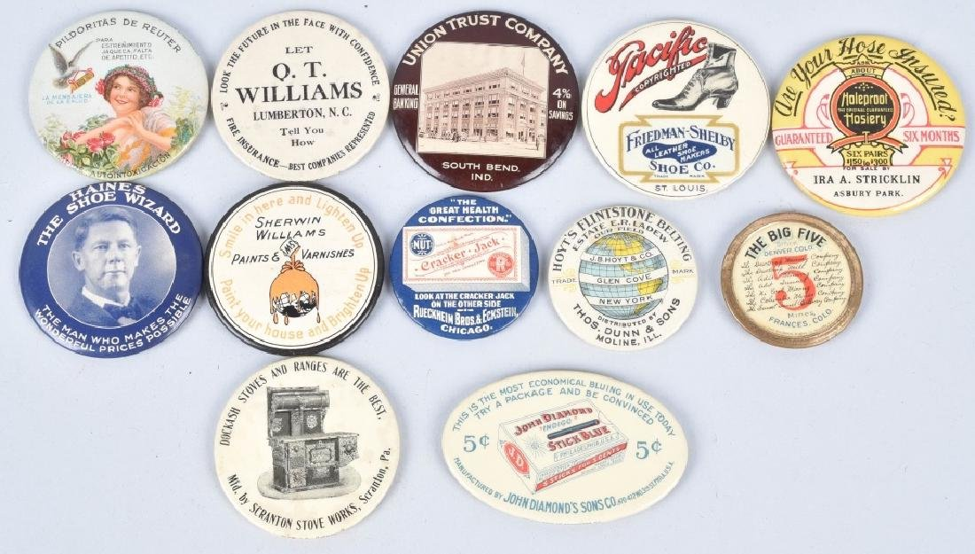 12- CELLULOID ADVERTISING POCKET MIRRORS