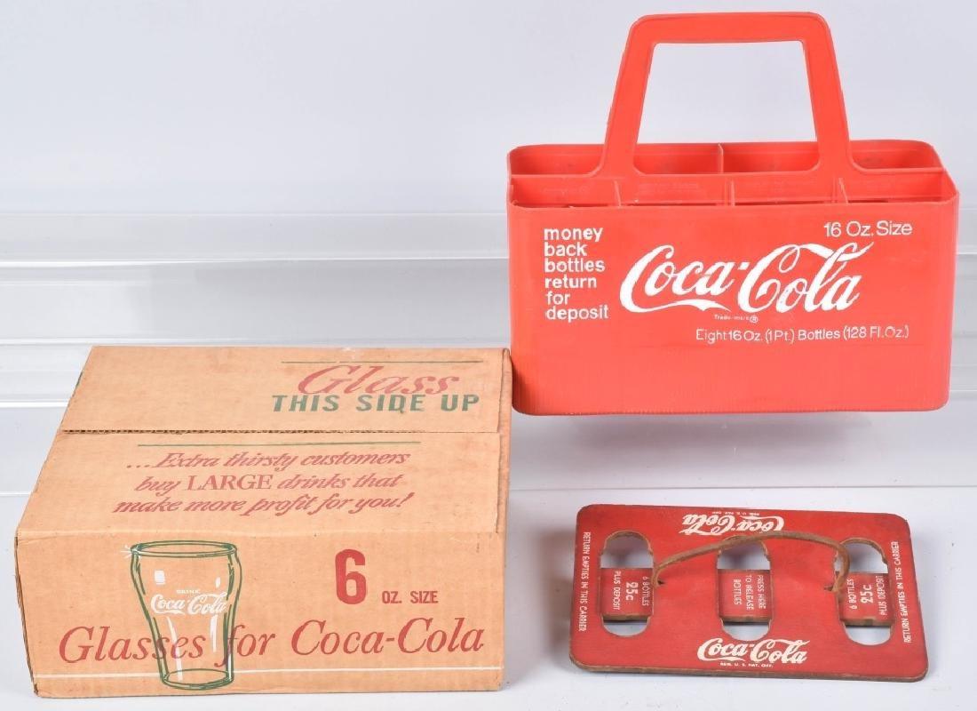 VINTAGE CASE OF COCA COLA GLASSES & CARRIERS