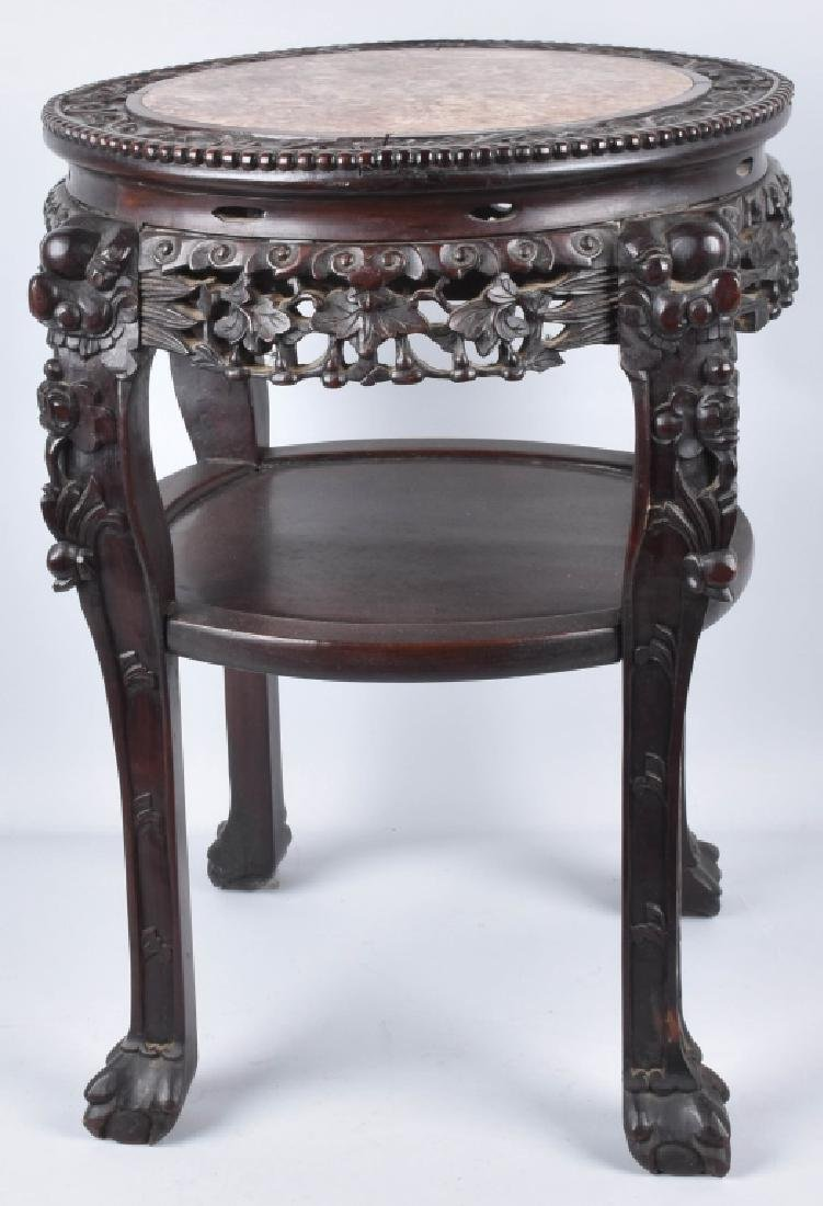 CHINESE EXPORT ROSEWOOD MARBLE TOP TABLE