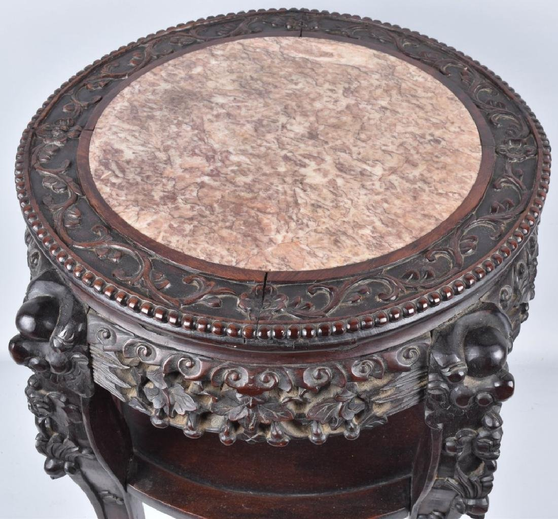 CHINESE EXPORT ROSEWOOD MARBLE TOP TABLE - 2