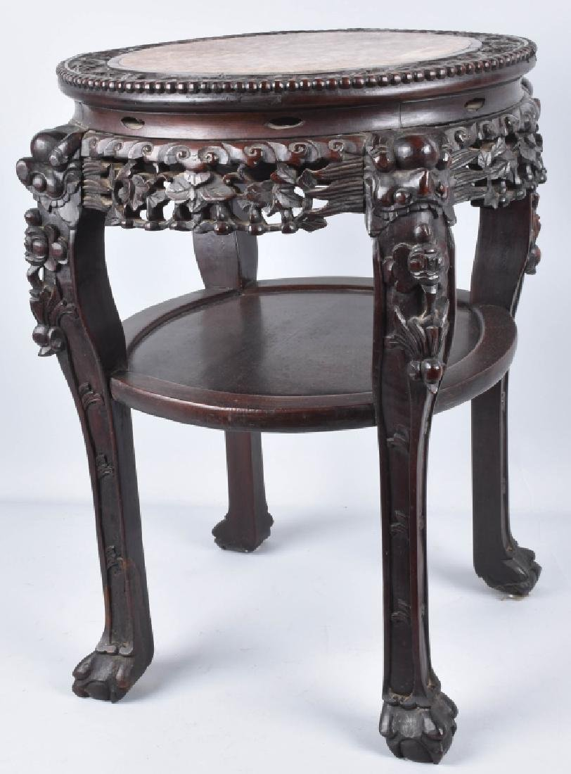 CHINESE EXPORT ROSEWOOD MARBLE TOP TABLE - 3