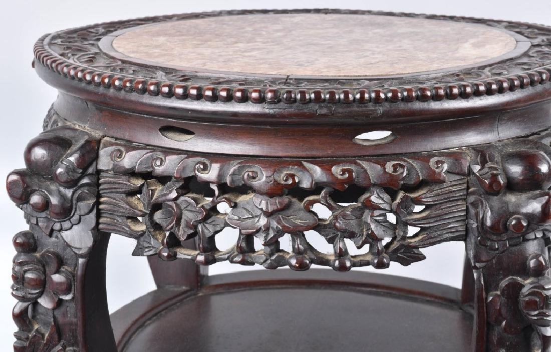 CHINESE EXPORT ROSEWOOD MARBLE TOP TABLE - 5