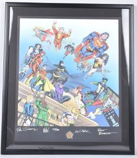 Dc Comics 60th Anniversary Print W/ Autographs