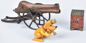 3-cast Iron And Tin Toys, Pluto, Bank & Cannon