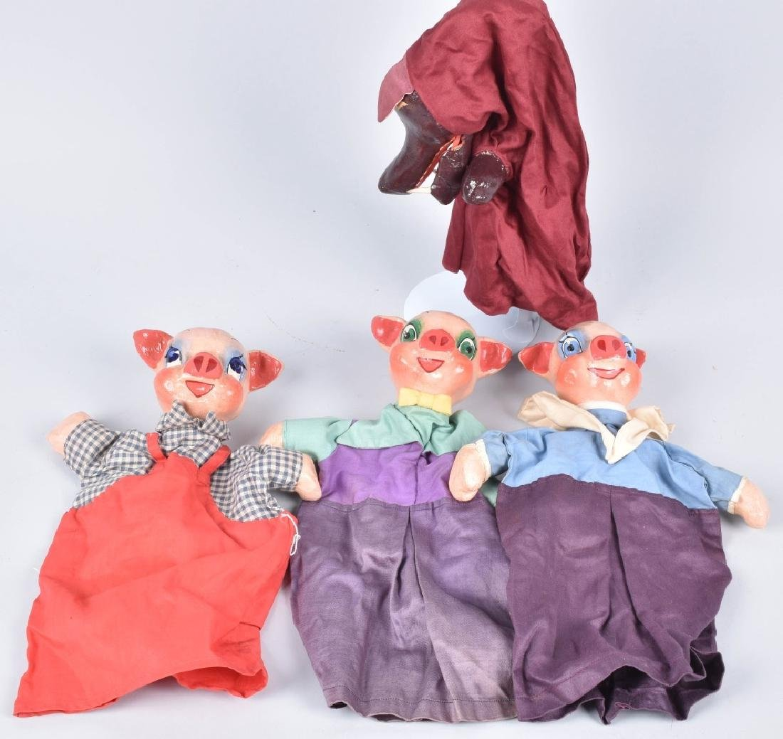 1930s 3 LITTLE PIGS & BIG BAD WOLF PUPPETS