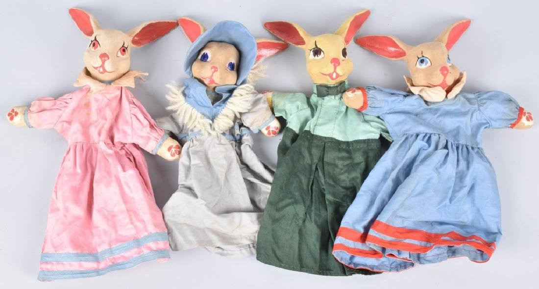 4- 1930s PETER RABBIT HAND PUPPETS