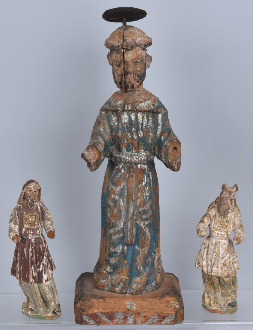 3-SANTOS NEW MEXICO WOOD CARVINGS