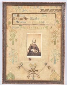 1802 Hand Sewn Sampler With Cdv