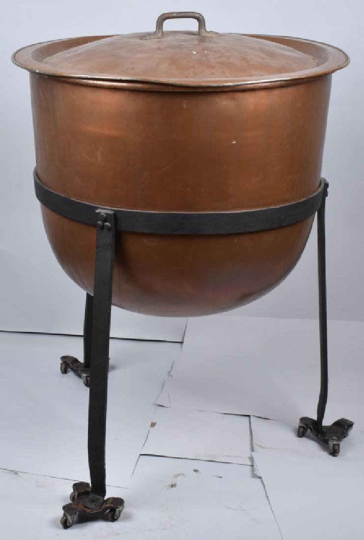 COPPER APPLE BUTTER BUCKET on IRON STAND