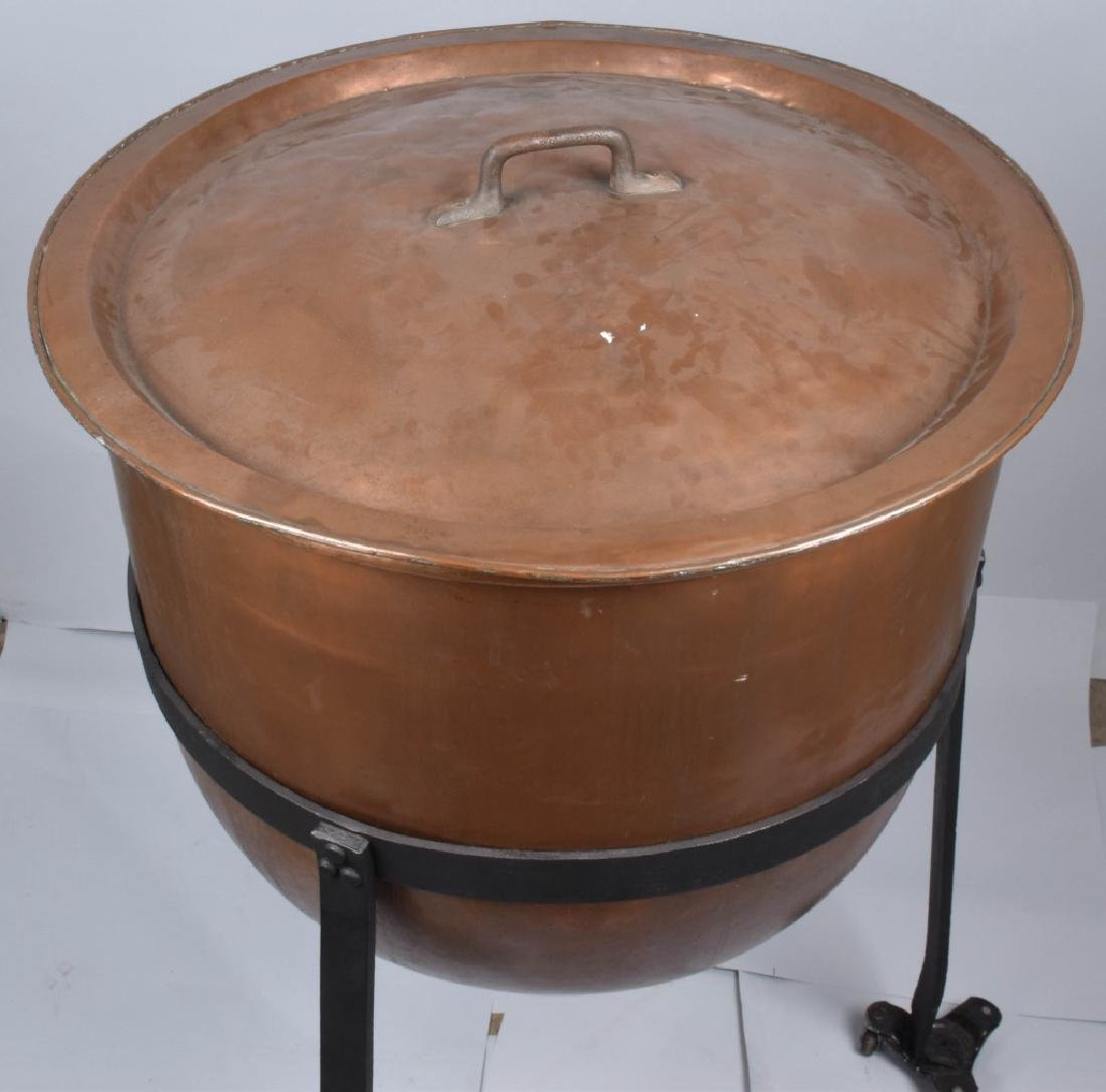 COPPER APPLE BUTTER BUCKET on IRON STAND - 2