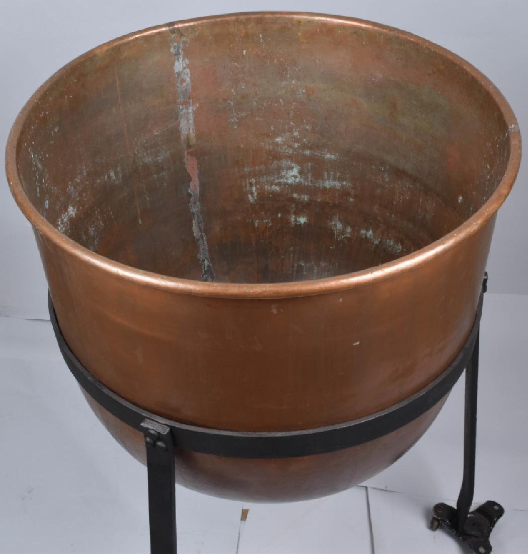 COPPER APPLE BUTTER BUCKET on IRON STAND - 3