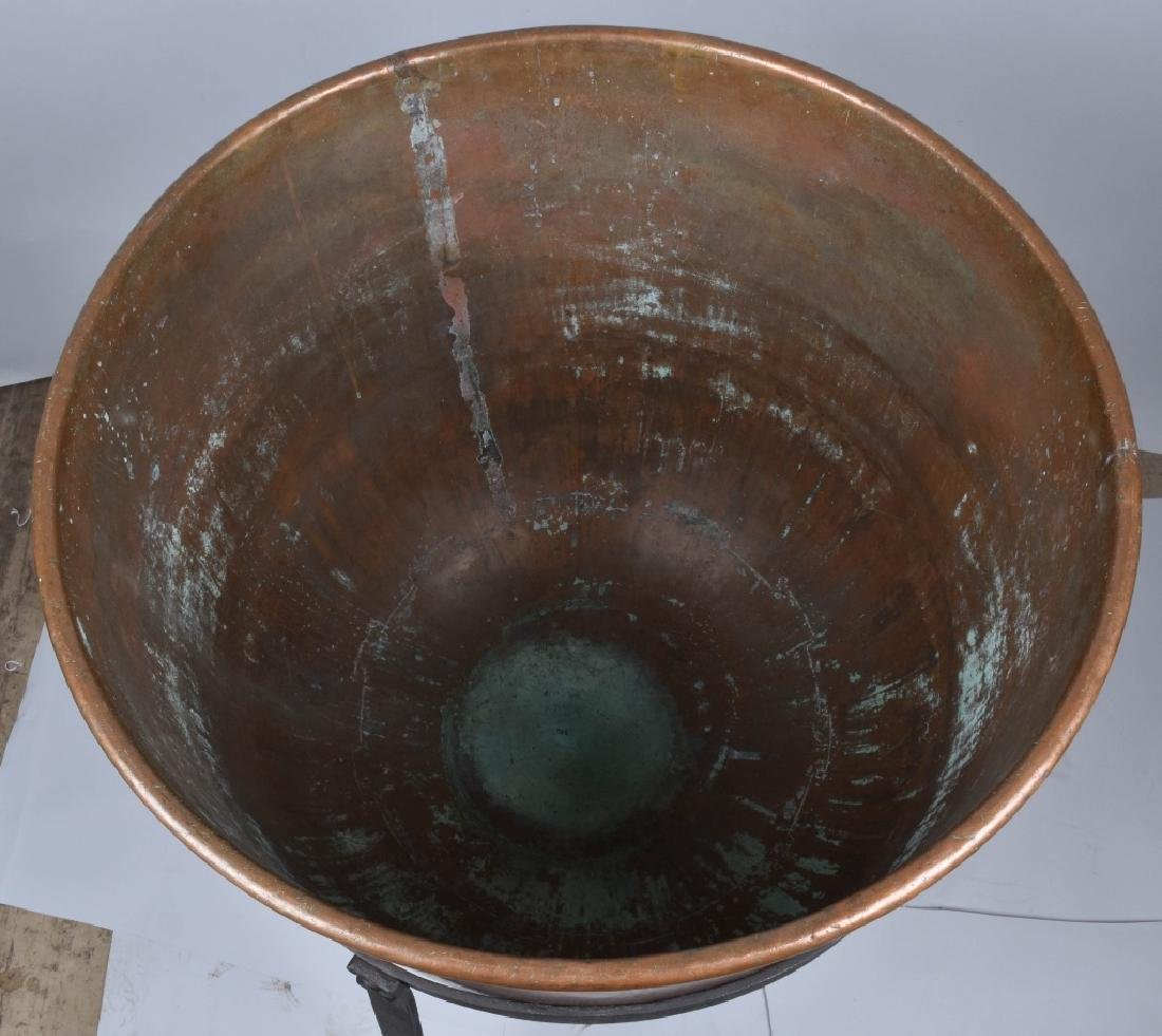 COPPER APPLE BUTTER BUCKET on IRON STAND - 4