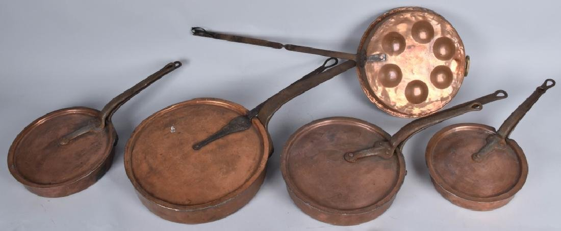 ANTIQUE DUPARQUET NY, COPPER PAN SET