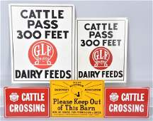 5VINTAGE DAIRY and CATTLE TIN SIGNS