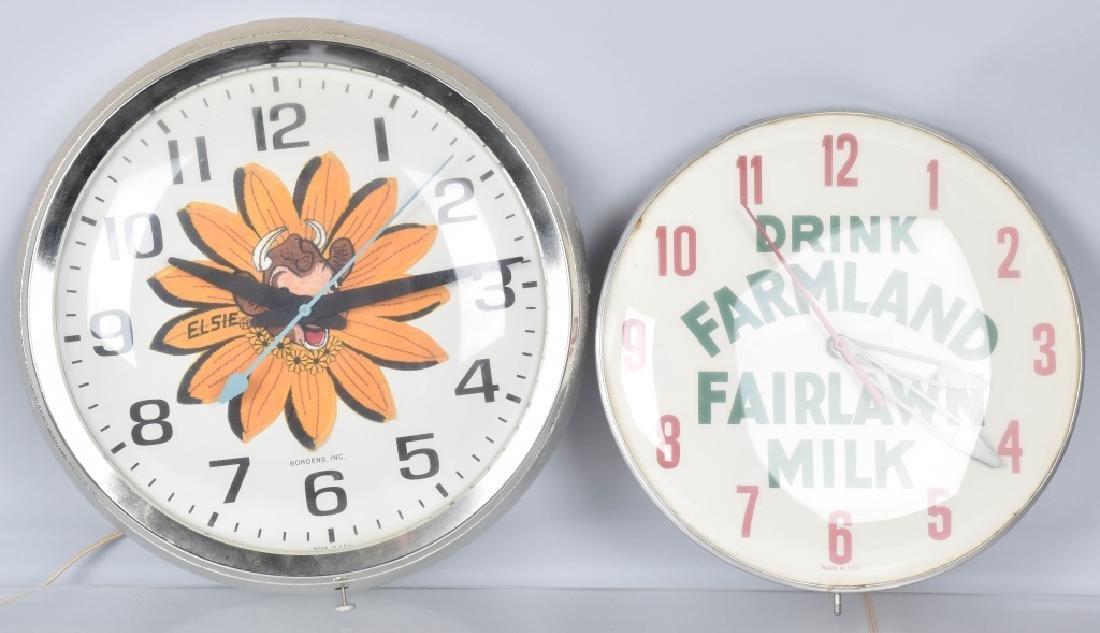 2-VINTAGE DAIRY ADVERTISING CLOCKS