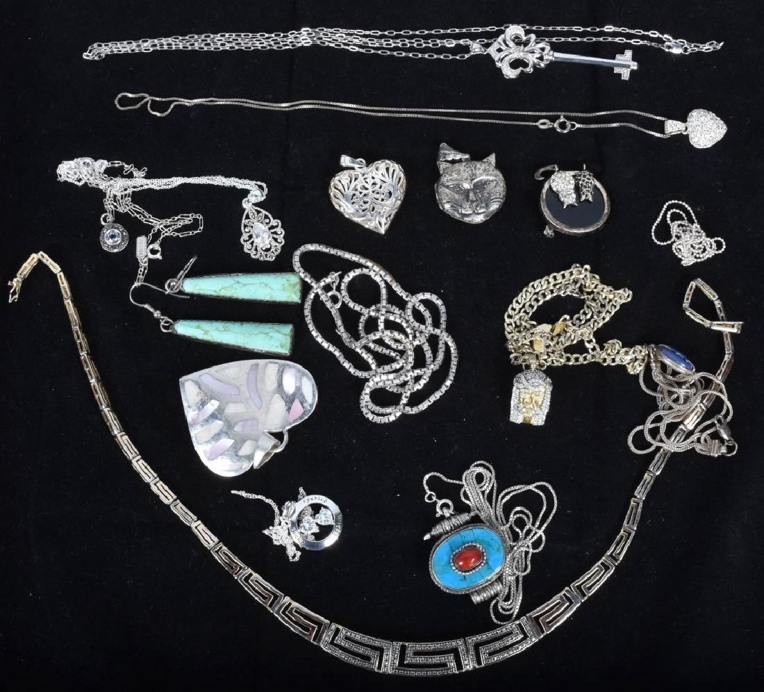 LARGE LOT OF STERLING SILVER NECKLACES & PENDANTS