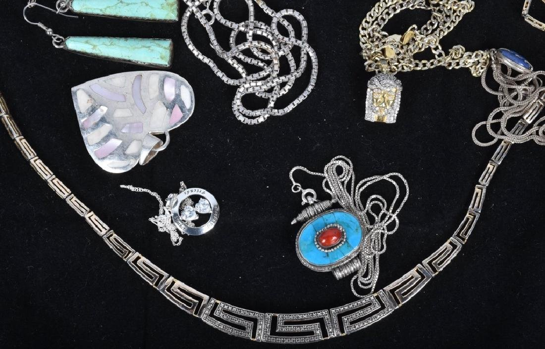LARGE LOT OF STERLING SILVER NECKLACES & PENDANTS - 3