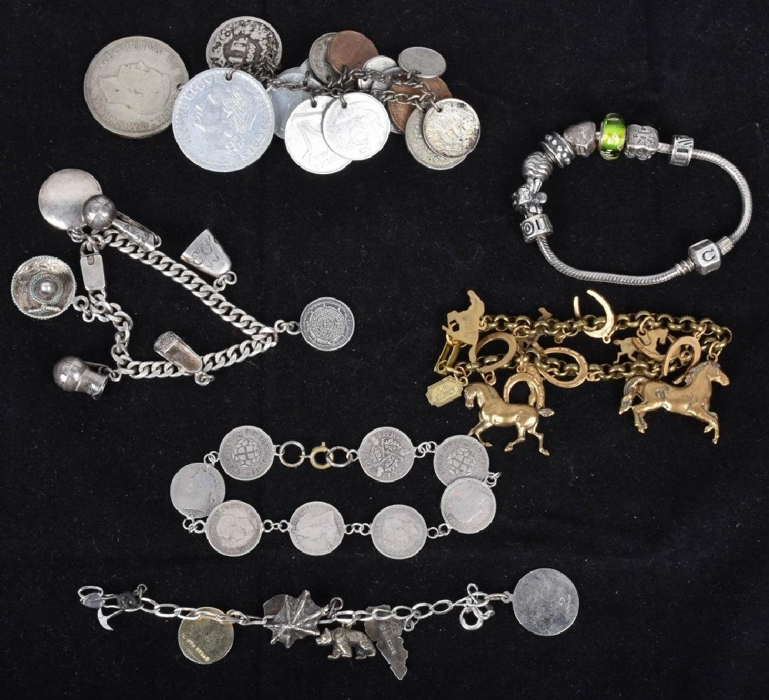 5 VINTAGE CHARM BRACLETS SILVER AND BRASS