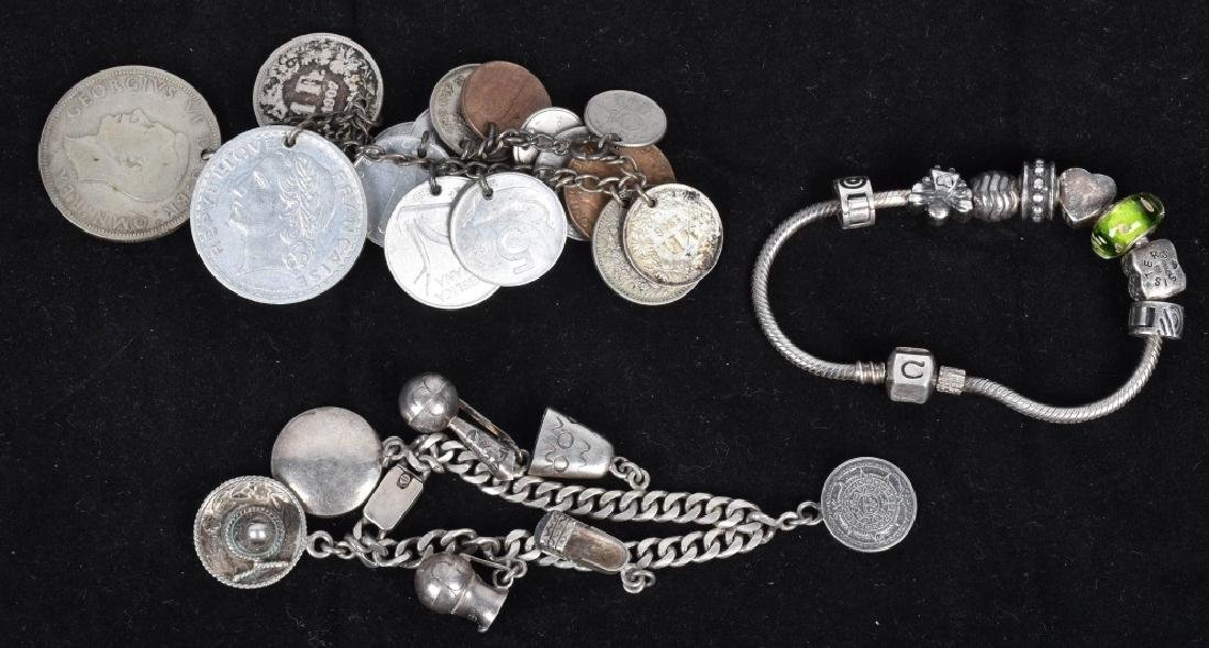5 VINTAGE CHARM BRACLETS SILVER AND BRASS - 2