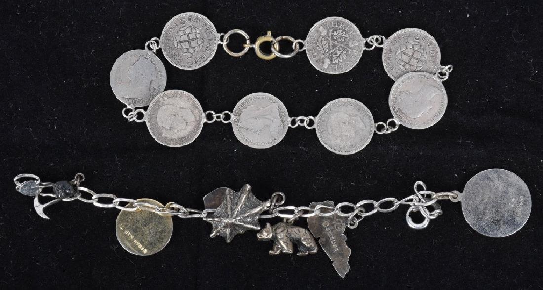 5 VINTAGE CHARM BRACLETS SILVER AND BRASS - 3