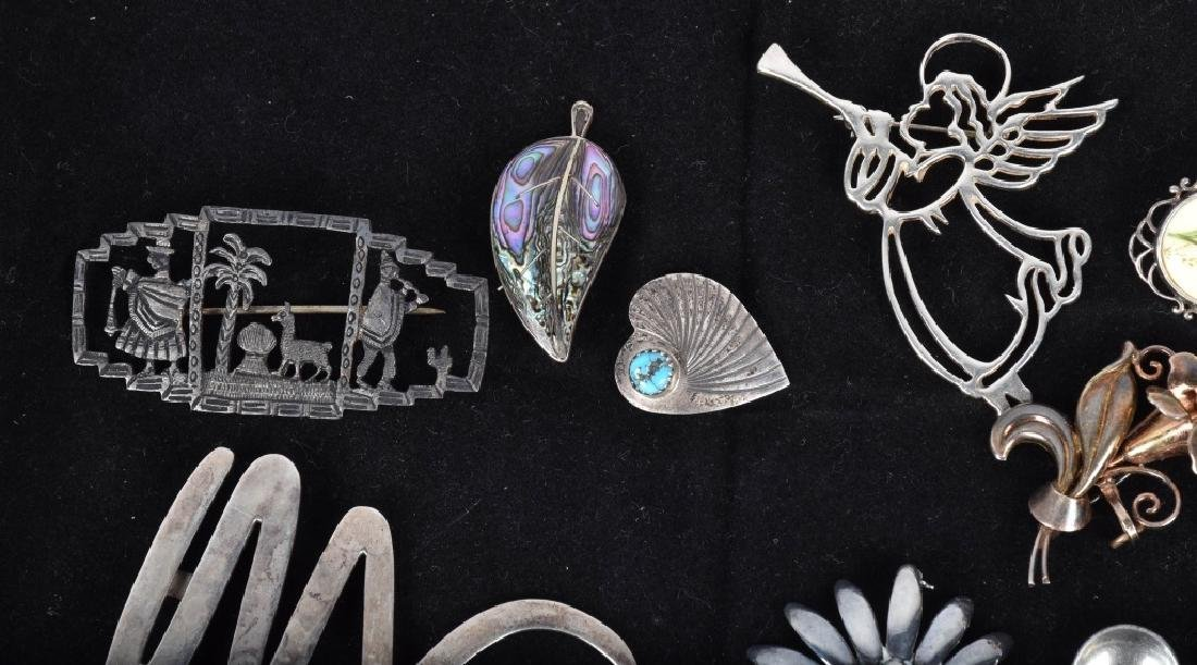 20 VINTAGE STERLING SILVER BROOCHES - 2