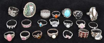 21 VINTAGE & FASHION WOMANS STERLING SILVER RINGS