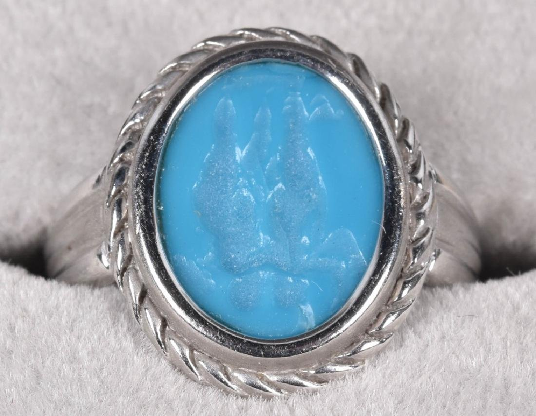 18kt WHITE GOLD ITALIAN TURQUOISE INTAGLIO RING