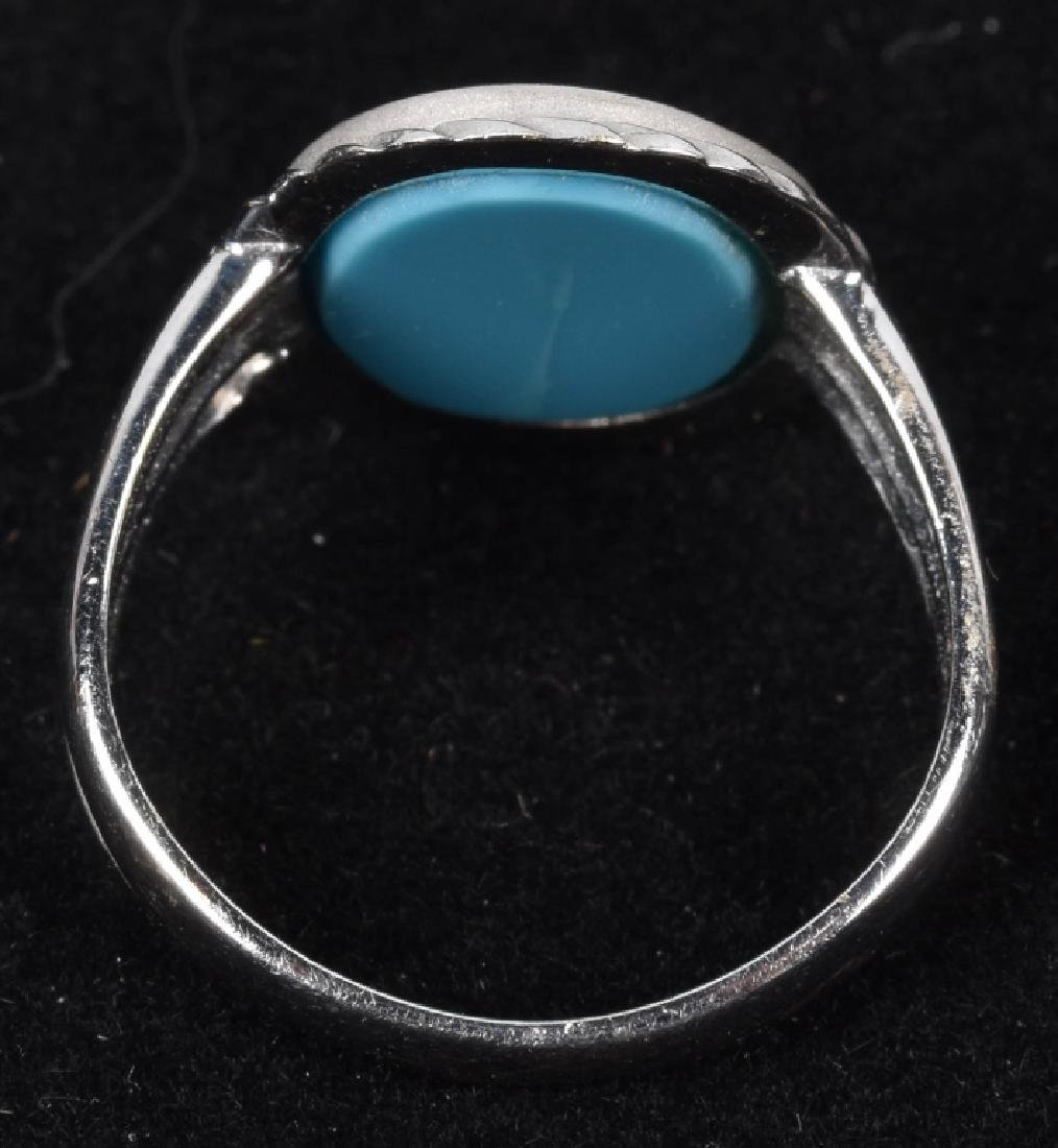 18kt WHITE GOLD ITALIAN TURQUOISE INTAGLIO RING - 2