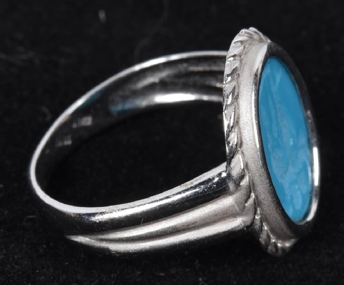 18kt WHITE GOLD ITALIAN TURQUOISE INTAGLIO RING - 3