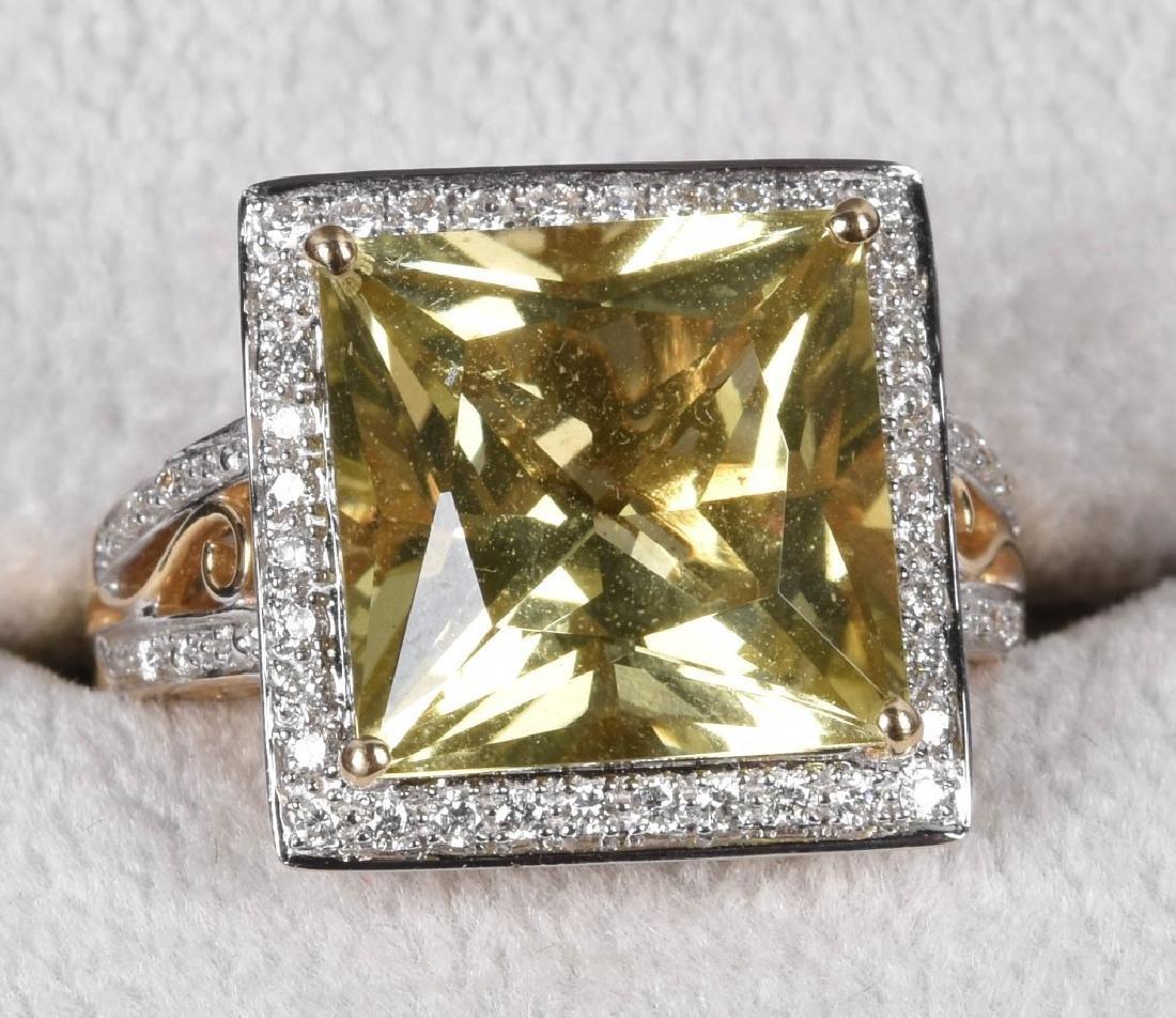 14KT GOLD CITRINE & DIAMOND STATEMENT RING