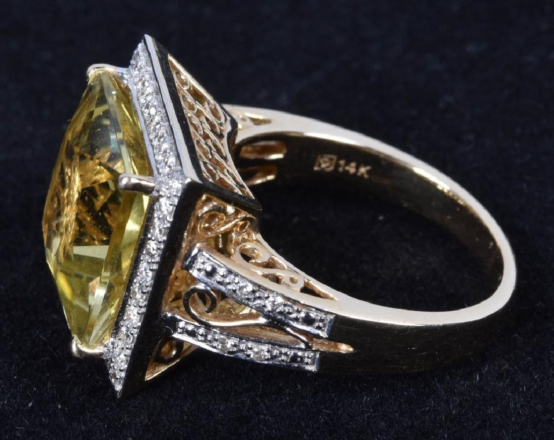 14KT GOLD CITRINE & DIAMOND STATEMENT RING - 4