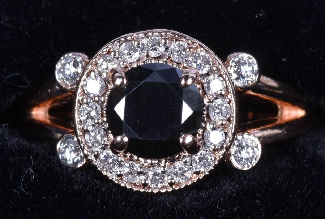 GARO 14KT ROSE GOLD BLACK & WHITE DIAMOND RING