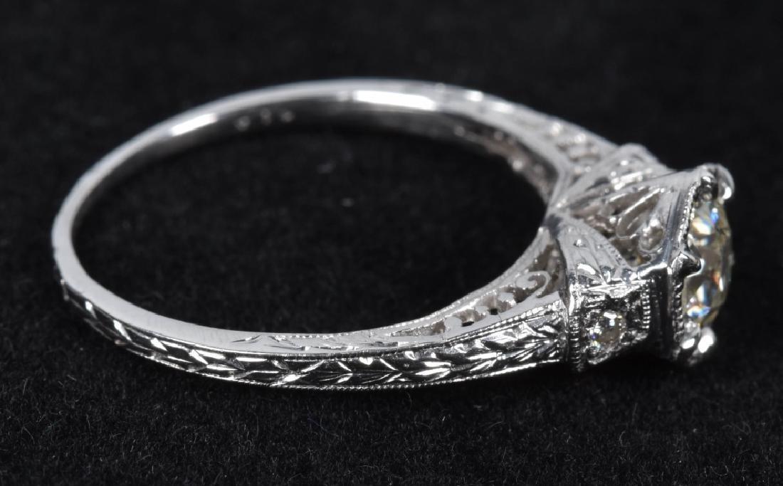 18kt GOLD EDWARDIAN FILIGREE 3/4CT DIAMOND RING - 3