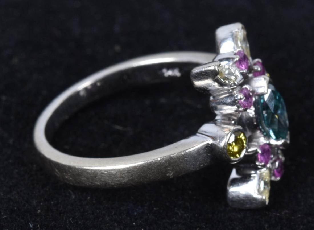 14kt WHITE GOLD STARBURST COLORED DIAMONDS RING - 3