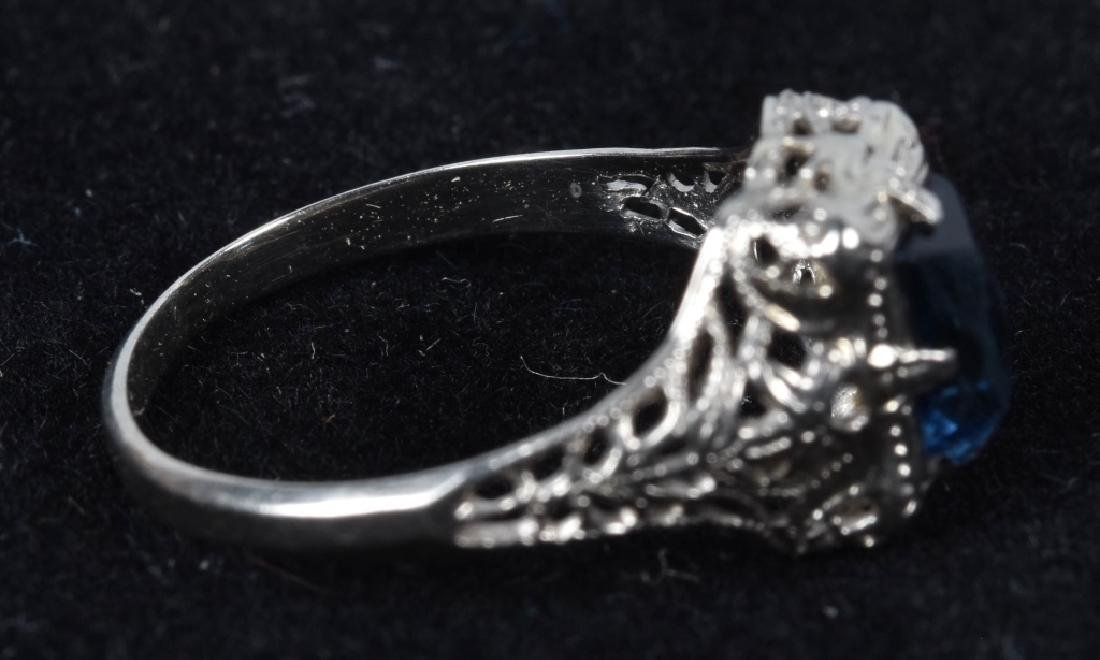 10kt WHITE GOLD EDWARDIAN FILIGREE SAPPHIRE RING - 3