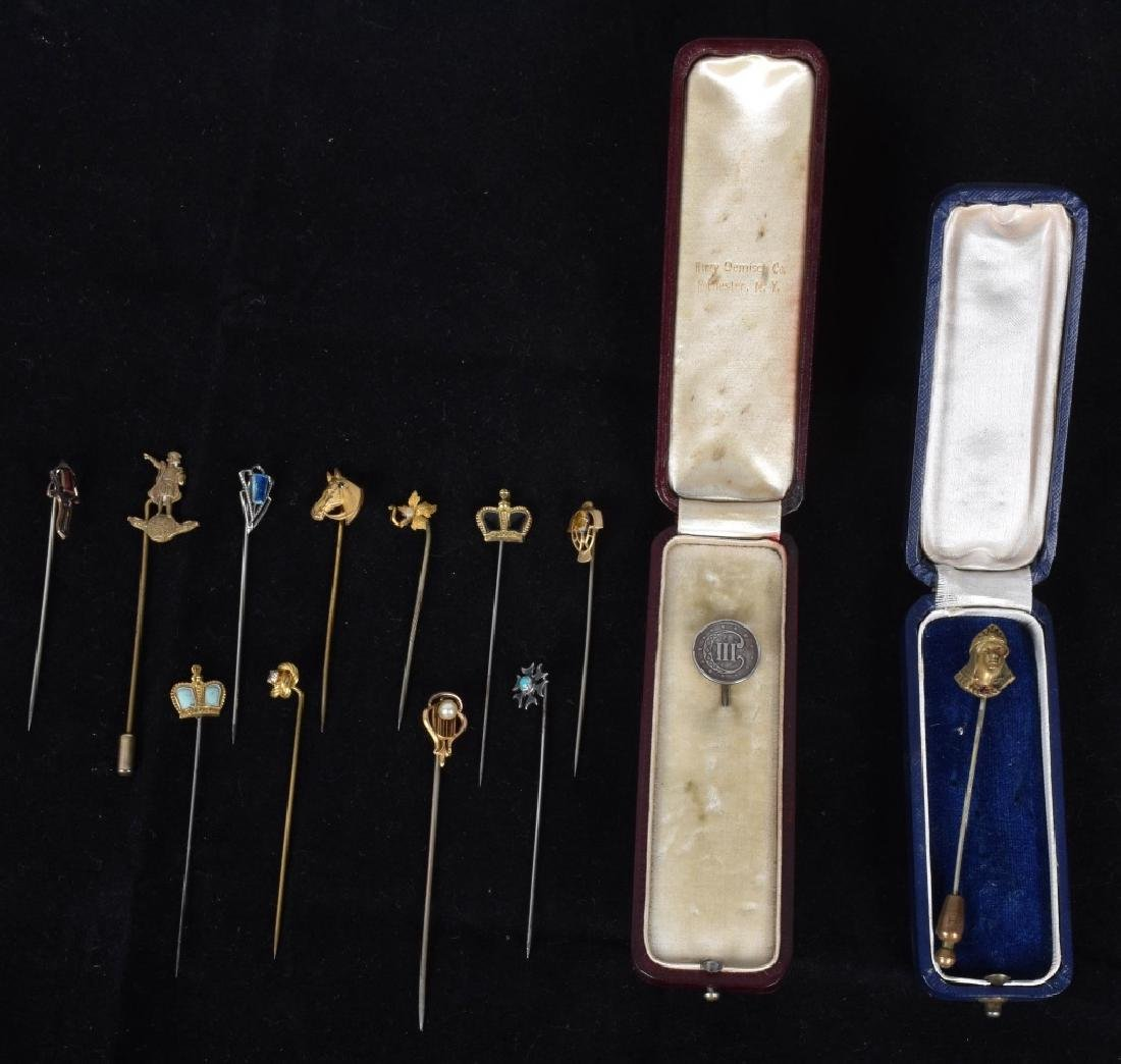 LOT OF 13 VICTORIAN GOLD FILLED STICK PINS