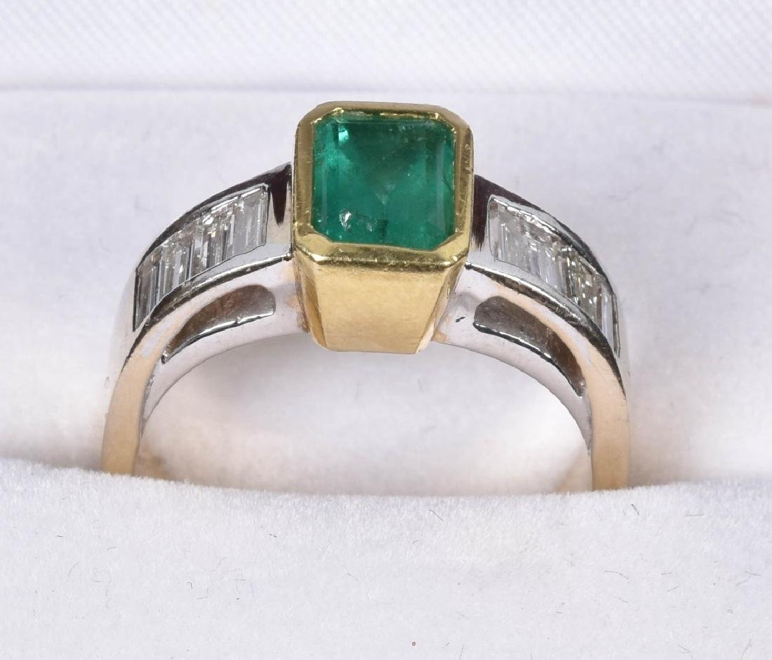 14kt GOLD EMERALD AND DIAMOND RING